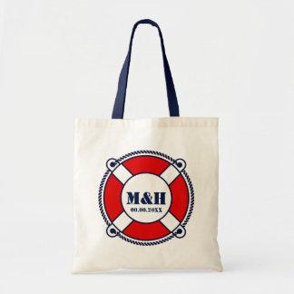 Nautical life buoy monogram wedding tote bags