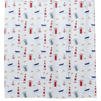 Nautical Light House Sail Boat Pattern Shower Curtain