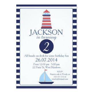 Nautical Lighthouse 2nd Birthday Invitation