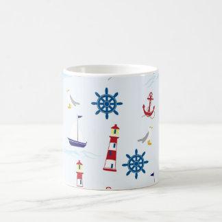 Nautical Lighthouse, Anchor, Wheel, Seagull & Boat Coffee Mug