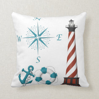 Nautical Lighthouse compass anchor blue red white Throw Pillow