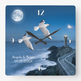 Nautical Lighthouse Seagulls Wedding Clock