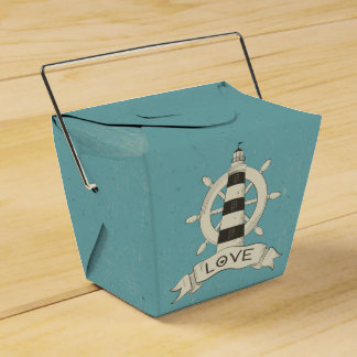 Nautical Lighthouse, Ship Anchor Blue Teal Wedding Party Favour Boxes