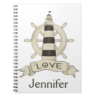 Nautical Lighthouse & Ship Anchor Personalized Notebook