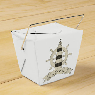 Nautical Lighthouse & Ship Anchor Tan Wedding Favour Box