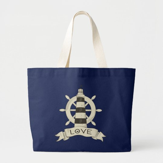 Nautical Lighthouse & Ship Wheel Beach Sailor Love Large Tote Bag