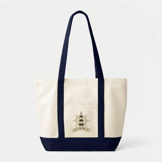 Nautical Lighthouse & Ship Wheel Beach Sailor Love Tote Bag