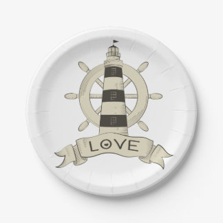 Nautical Lighthouse & Ship Wheel  Wedding Party Paper Plate