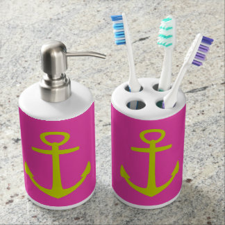 Nautical Lime Green Anchors on Diva Pink Bathroom Sets