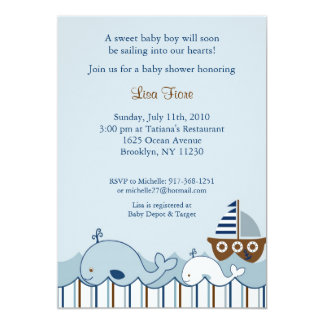 Nautical Little Whale Baby Shower Invitations