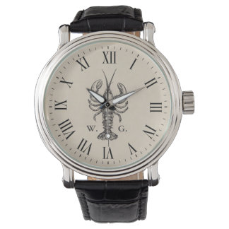 Nautical Lobster Personalized Monogram Watch