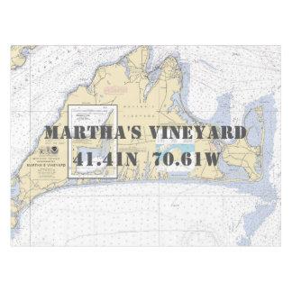 Nautical Longitude Latitude Martha's Vineyard Tablecloth