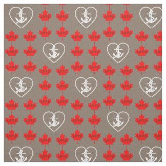 Nautical love Canada anchor heart fabric grey