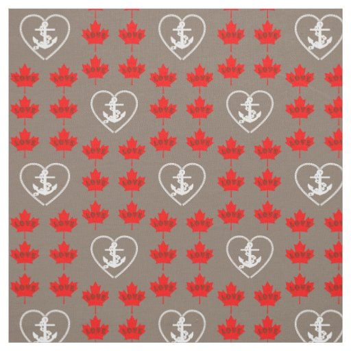 Nautical love Canada anchor heart fabric grey