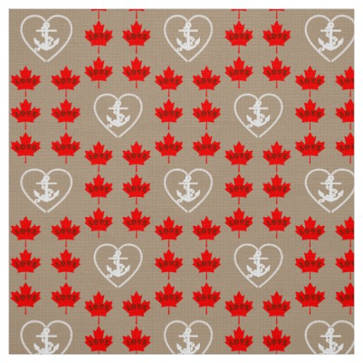 Nautical love Canada anchor heart fabric taupe