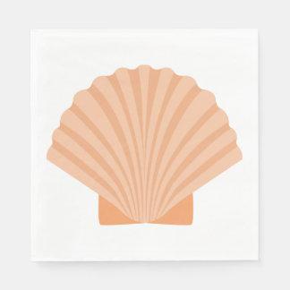 Nautical Love Seashell Orange Coral Wedding Party Disposable Napkin