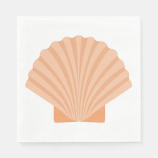 Nautical Love Seashell Orange Coral Wedding Party Disposable Serviettes