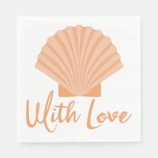 Nautical Love Seashell Orange Wedding Party Disposable Serviette