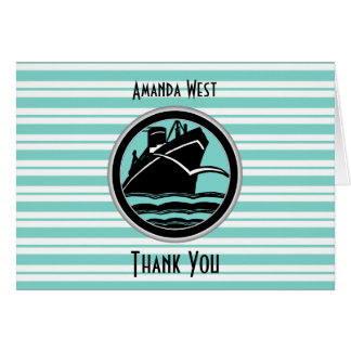 Nautical Lt Blue White Stripe Black Ship Thank You Card