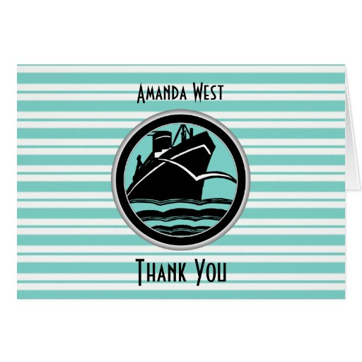 Nautical Lt Blue White Stripe Black Ship Thank You Cards