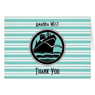Nautical Lt Blue White Stripe Black Ship Thank You Note Card