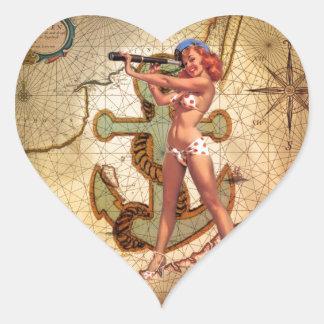 Nautical Map Beach bikini Pin Up Girl Sailor Heart Sticker