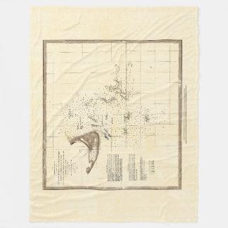 Nautical Map of Nantucket Fleece Blanket