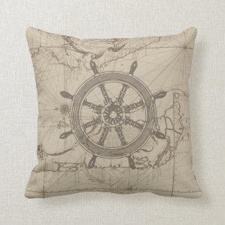 Nautical map with ship's wheel throw pillow