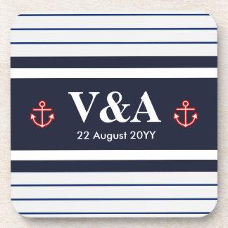 Nautical Marine Navy Blue White Stripes Coaster