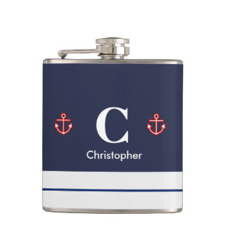 Nautical Marine Navy Blue White Stripes Hip Flask