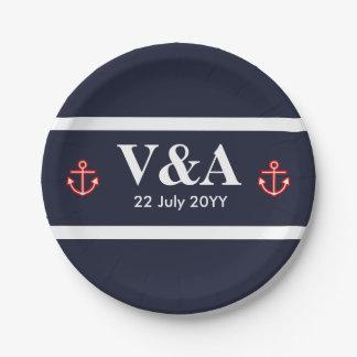 Nautical Marine Navy Blue White Stripes Paper Plate
