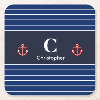 Nautical Marine Navy Blue White Stripes Square Paper Coaster