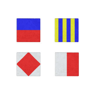 Nautical Maritime Sign Flags Letters E, F, G and H Stone Magnet