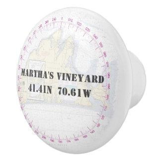 Nautical Martha's Vineyar Latitude Longitude Chart Ceramic Knob