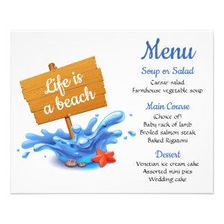 Nautical Menu Blue Beach Ocean Wedding Party