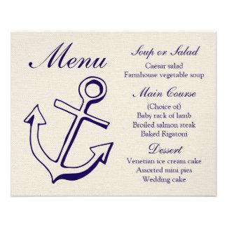 Nautical Menu Ship Anchor Navy Blue & Tan Wedding