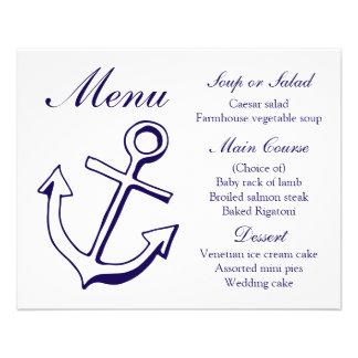 Nautical Menu Ship Anchor Navy Blue Wedding
