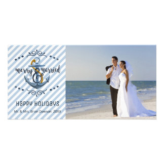 Nautical Merry & Married, Blue Stripes, One Photo Card