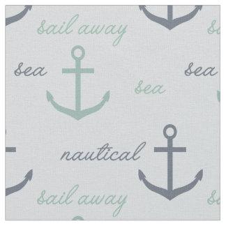 Nautical Mint Blue Anchors Fabric