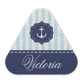 Nautical Mint Navy Blue Anchor Custom Name