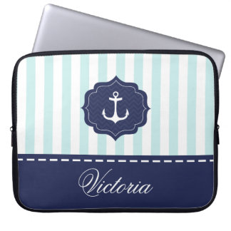 Nautical Mint Navy Blue Anchor Custom Name Laptop Sleeve