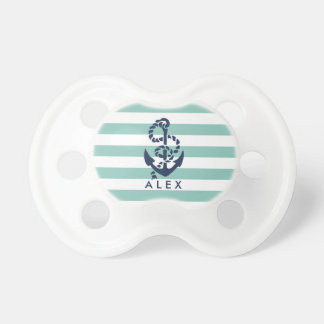 Nautical Mint Stripe Anchor Personalized Dummy