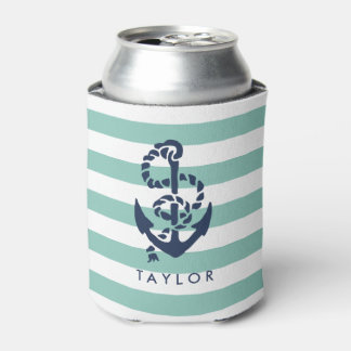 Nautical Mint Stripe & Navy Anchor Personalized Can Cooler