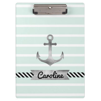 Nautical Mint Stripes Watercolored Anchor Clipboard