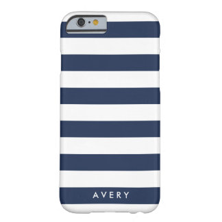 Nautical Modern Navy and White Stripe Personalized Barely There iPhone 6 Case