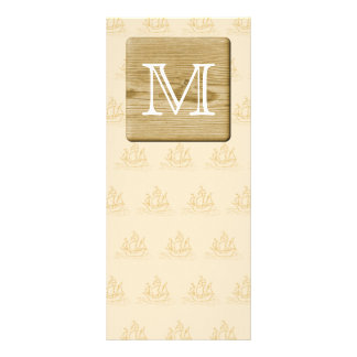 Nautical Monogram Design, with Picture of Wood. Custom Rack Card