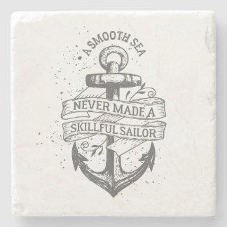 Nautical motivational sailor quote stone coaster
