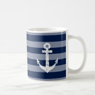 Nautical mug with custom monogram and boat anchor