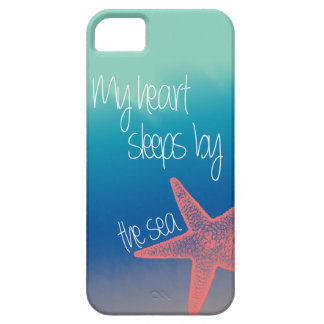 "Nautical ""My heart sleeps by the sea"" starfish iPhone 5 Cases"