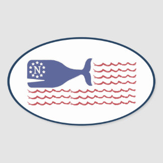 Nautical Nantucket Whale Flag Oval Sticker